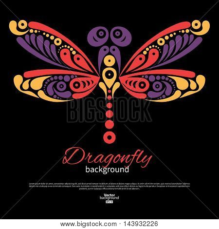 Background with beautiful dragonfly. Tattoo vector illustration