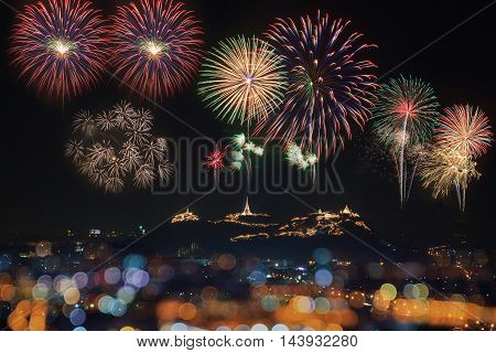 Festival firework annual at Phetchaburi province Thailand