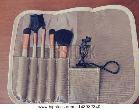 Makeup brushes, eyeshadow, eyelash curler, eyebrows, make up artist, beautician, tools of the trade