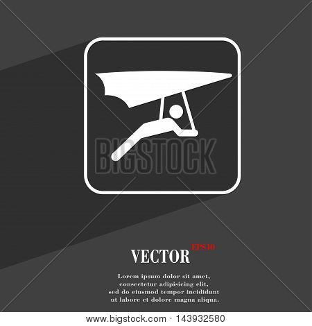 Hang-gliding Symbol Flat Modern Web Design With Long Shadow And Space For Your Text. Vector