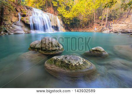 Third-rocks in waterfall at Erawan waterfall National Park Kanchanaburi Thailand
