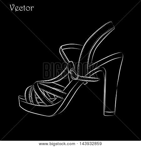 Elegant womens high heel shoe on black background
