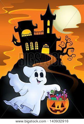 Halloween ghost near haunted castle - eps10 vector illustration.
