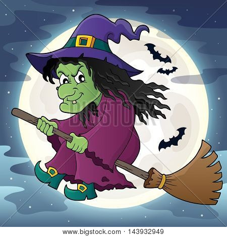 Witch on broom theme image 2 - eps10 vector illustration.