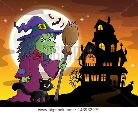 Witch with cat and broom theme image 3 - eps10 vector illustration.