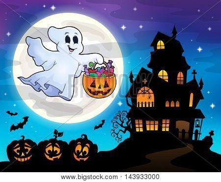 Halloween ghost near haunted house 2 - eps10 vector illustration.