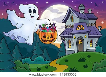 Halloween ghost near haunted house 1 - eps10 vector illustration.