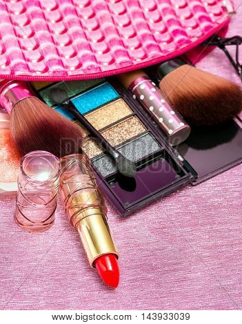 Makeup Lipstick Represents Beauty Product And Cosmetics