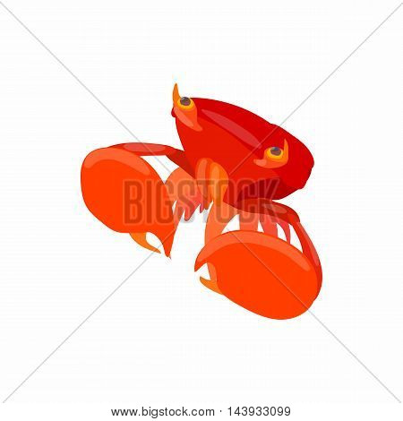 Crab with big claws icon in cartoon style isolated on white background. Crustaceans symbol