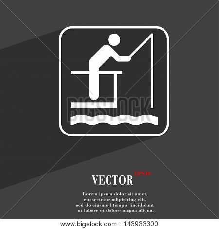 Fishing Symbol Flat Modern Web Design With Long Shadow And Space For Your Text. Vector