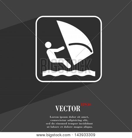Windsurfing Symbol Flat Modern Web Design With Long Shadow And Space For Your Text. Vector