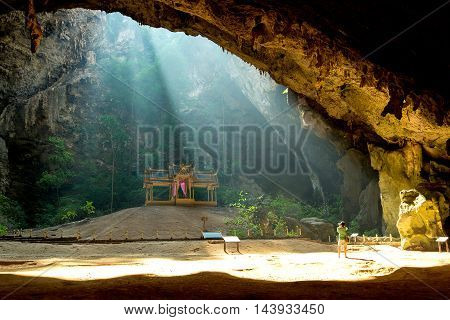Sun beam in cave at Prachuap Khiri Khan Province