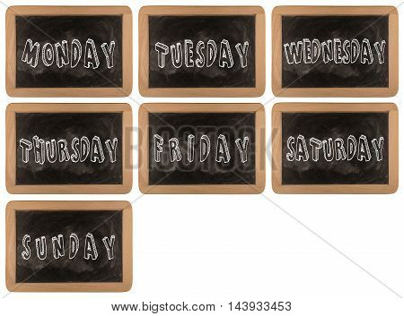 7 day of week on chalk board background textures with old vintage wooden frame:grunge chalkboard with handwritten over background.day