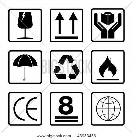 Fragile symbol set isolated on white background. Black fragile symbol.