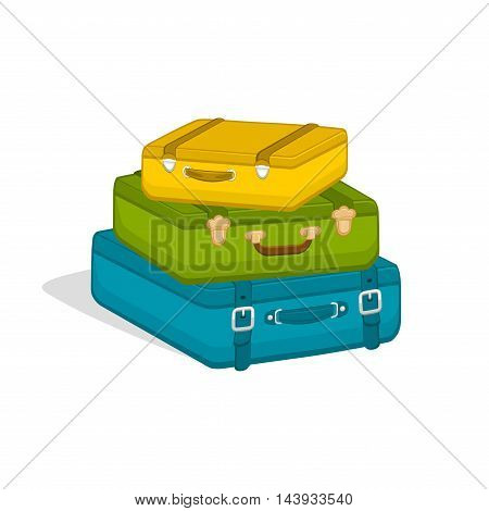 Stack of suitcases isolated on white background. Travel baggage luggage. Illustration for travel, holidays, trips. Vector illustrationin a flat style.