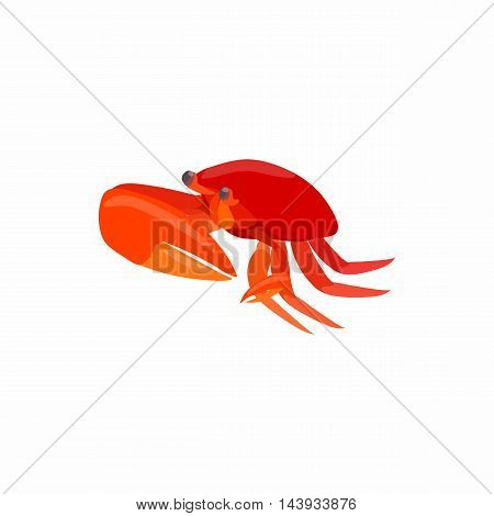 Red crab with big claws icon in cartoon style isolated on white background. Crustaceans symbol
