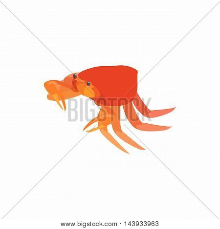 Crab with small claws icon in cartoon style isolated on white background. Crustaceans symbol