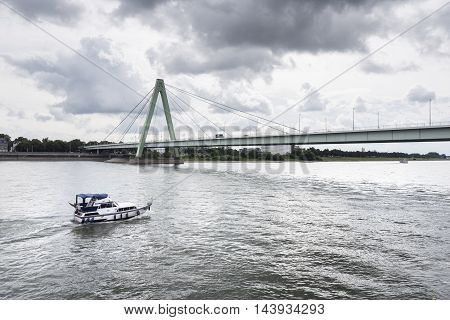 River Rhine Cologne Severinsbruecke water waterway ship
