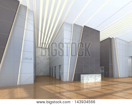 3d illustration of an receiption area in office lobby