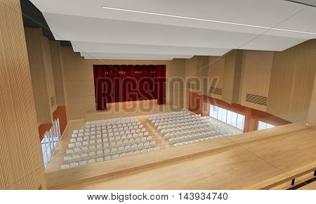 3d illustration of a big meeting hall