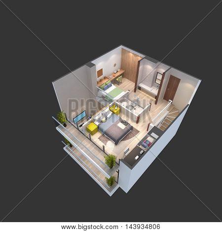 3d illustration of a penthouse floor plan