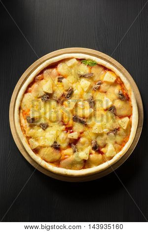 italian pizza at table background