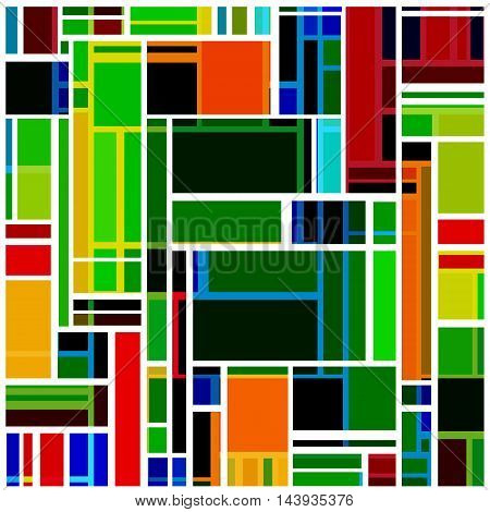 Abstract bright background with multicolored crossing rectangles.