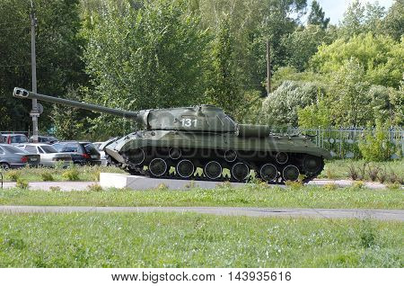 GORODETS, NIZHNY NOVGOROD OBLAST, RUSSIA - AUGUST 15, 2016: Russian heavy tank. Second world war monument on Gorodets, Nizhny Novgorod Oblast, Russia.