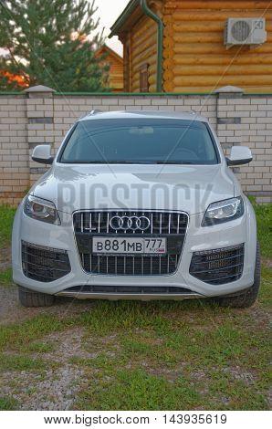 Gorodets, Nizhny Novgorod Oblast, Russia - August 16, 2016: Audi Q7 parked on the grass.