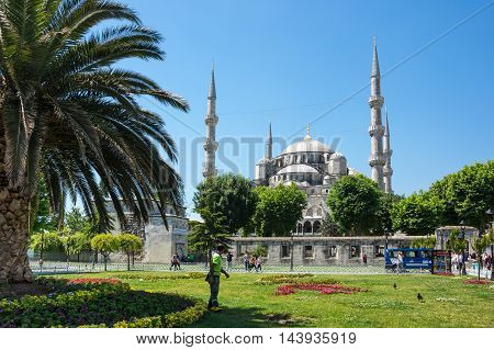 ISTANBUL TURKEY - JUNE 20 2015: Sultan Ahmet Mosque in Istanbul Turkey. The mosque is popularly known as the Blue Mosque for the blue tiles adorning the walls of its interior