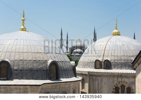 Domes of Ayasofia and Sultan Ahmet Mosque in Instanbul Turkey