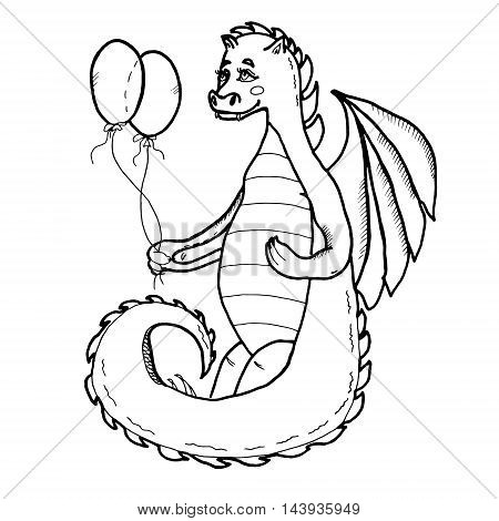 Dragon with air balloons. Hand drawn graphics illustration. Isolated on white background. For prints, cards, designs, clothes, coloring book pages.