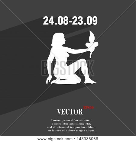 Virgo Symbol Flat Modern Web Design With Long Shadow And Space For Your Text. Vector
