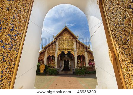 Thai temple of buddhismWat Phra That Hariphunchai in Lamphun Thailand