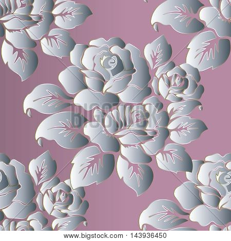 Modern very tender floral  vector seamless pattern with vintage  white flowers and ornaments on the light pink background. Stylish  illustration and 3d vintage decor elements with shadow and highlights. Endless elegant  texture.