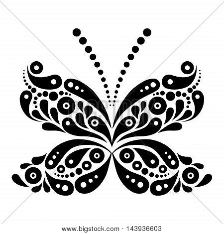 Beautiful butterfly tattoo. Artistic pattern in butterfly shape. Black and white illustration