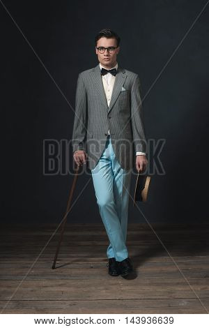 Retro 1920S Business Man With Hat And Cane.