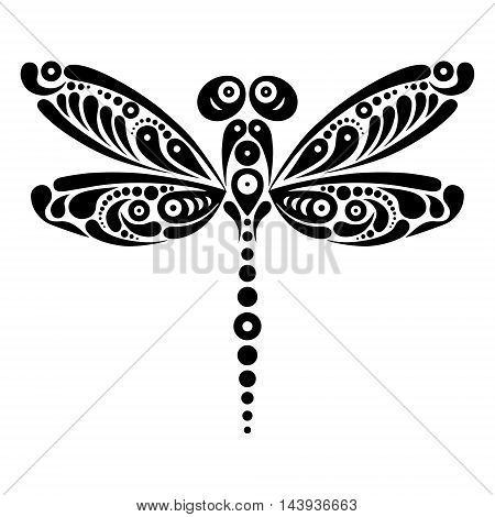 Beautiful dragonfly tattoo. Artistic pattern in butterfly shape. Black and white illustration