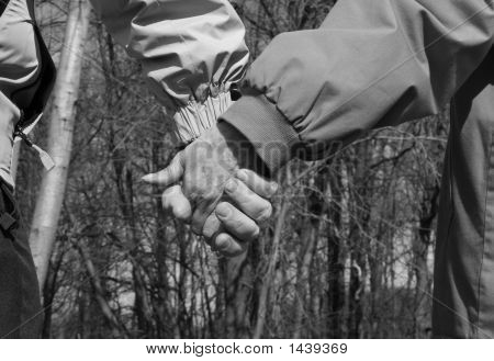 Senior Couple Holding Hands enjoying nature