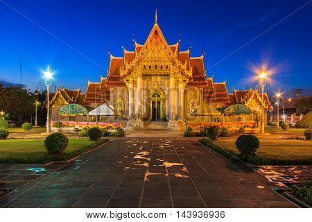 The Marble Temple Wat Benchamabophit at twilight time Bangkok Thailand