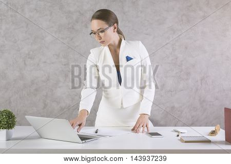 Attractive Businesswoman Typing