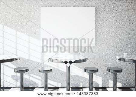 Iron tables and chairs in cafe dining area with blank banner on textured concrete wall. Mock up 3D Rendering