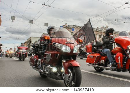 St. Petersburg, Russia - 13 August, Harley Davidson Parade on Nevsky Prospekt,13 August, 2016. The annual International Motor Festival Harley Davidson in St. Petersburg.