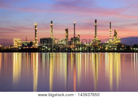 Oil refinery along the river at Dusk (Bangkok Thailand)