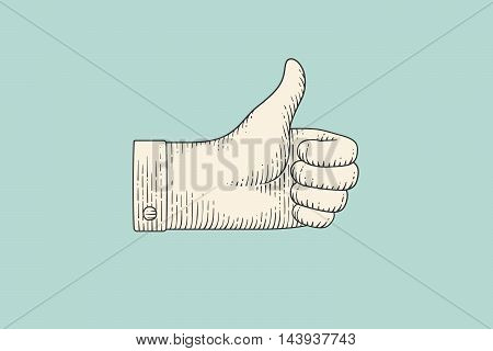 Vintage drawing of hand sign giving ok or thumbs up in engraving retro style, isolated on mint color background. Old drawn thumbs up for sign, information sign and navigation. Vector Illustration