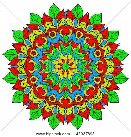 Ornamental round organic pattern circle colorful mandala with many details on white background. Happy design elemet.