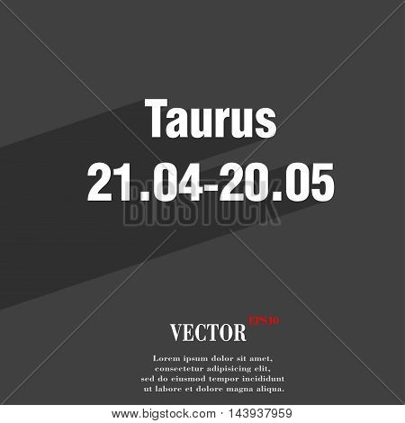 Taurus Symbol Flat Modern Web Design With Long Shadow And Space For Your Text. Vector