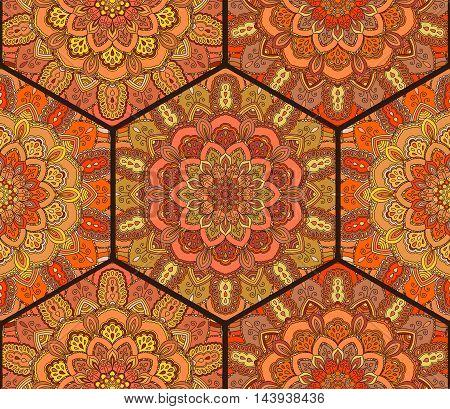 Honey Comb Hex Pattern from Flower Mandala. Orange tiles boho background. Intricate flower ornament.