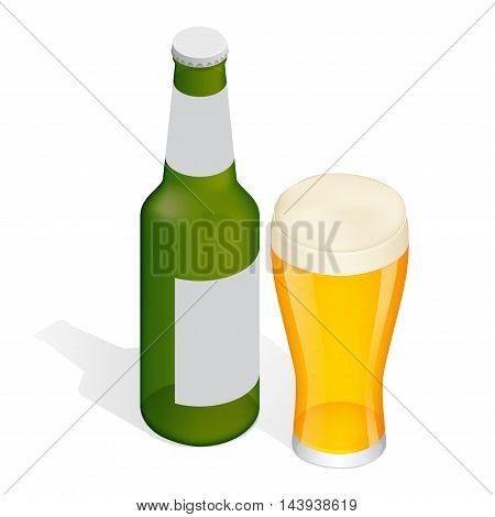 Isometric Bottle of beer with drops and Glass of beer. Flat 3d vector illustration