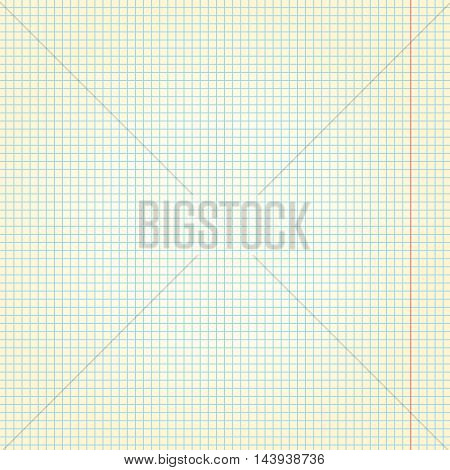 Vector seamless texture paper exercise book in a cell.